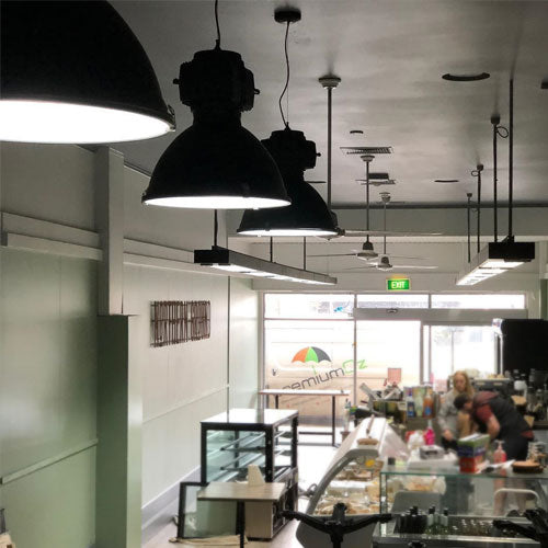 Industrial Pendant Lights in Cafe