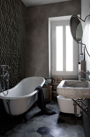 Pressed Metal Used As A Feature Wall In A Industrial Style Bathroom
