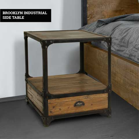 Reclaimed Wooden & Metal Side Table