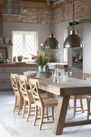 this dining room with a soft, countryside charm