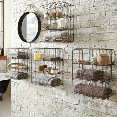 use exposed bricks in an industrial bathroom