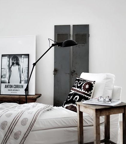 Eclectic bedroom and industrial touches