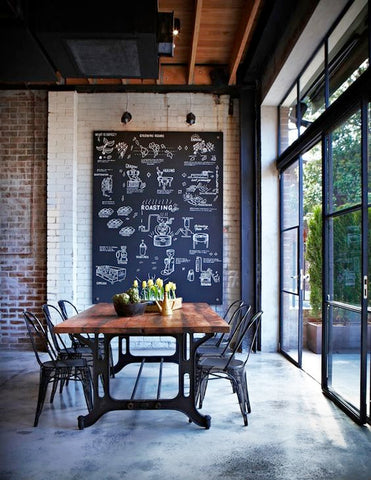 vintage metal stools and old wooden tables paired with spotlights and track lights. For the best effect, hang a pendant lamp above the centre of the table! The blackboard is when you're in the mood to be creative; let them know what's up for dinner by writing it in a fast dash.