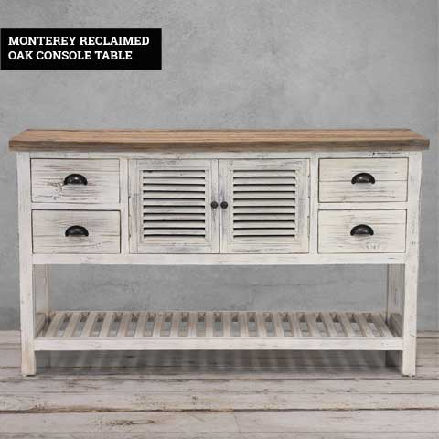 White Wash Reclaimed Console Table
