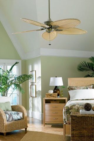 woven blades in a ceiling fan in a villa-inspired space