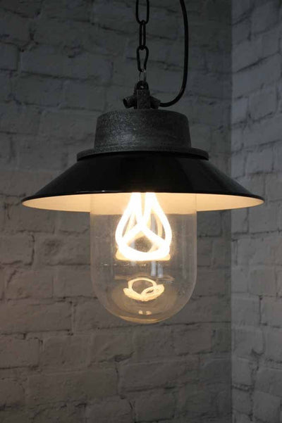 1 belfast industrial hanging light black graphite pendant clear