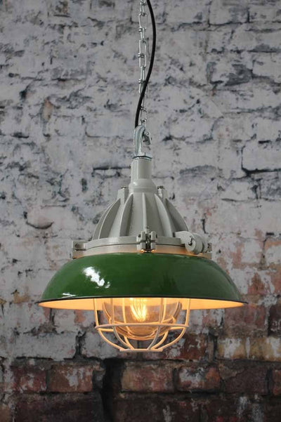 green-pendant-light-with-white-cage-guard