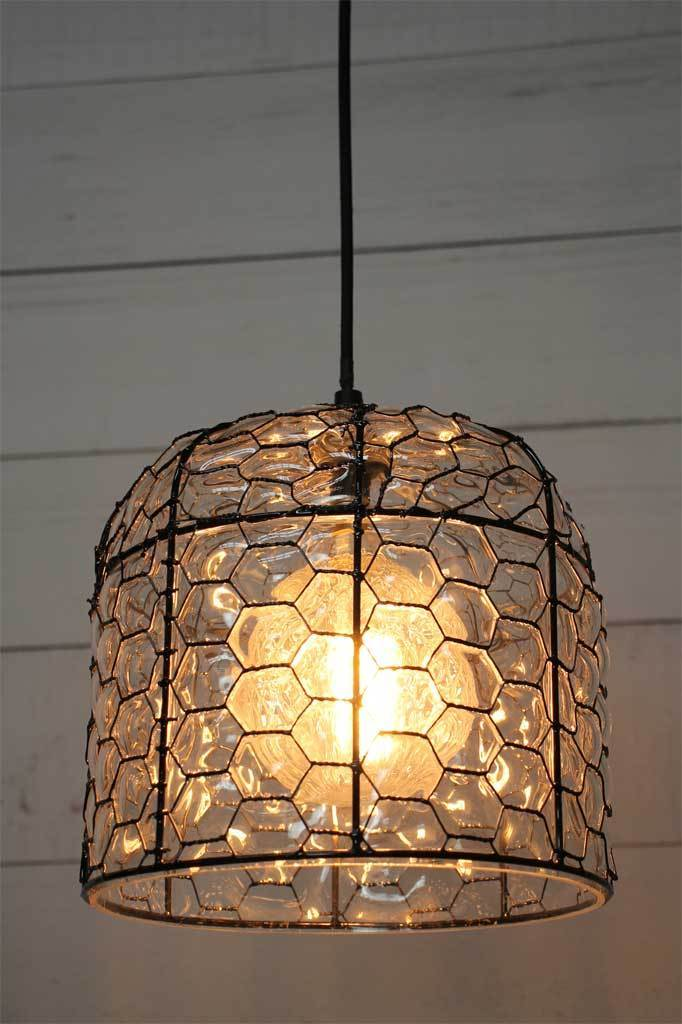 1 tallows pendant light with honeycomb tessallated design glass wire