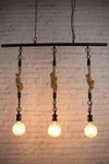 2 trio statement exposed bulb pendant lighting rope chain suspension black