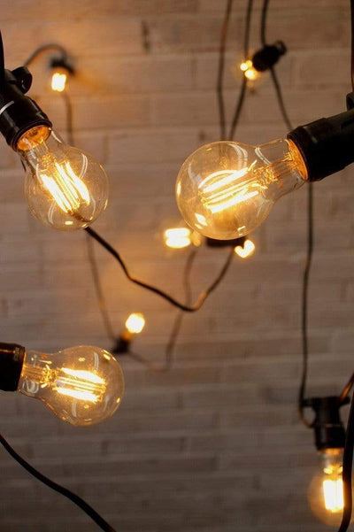 20 metre festoon string lights with led filament bulbs