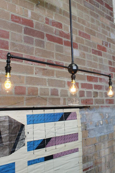 3 light pendant straight bar with led filament bulbs