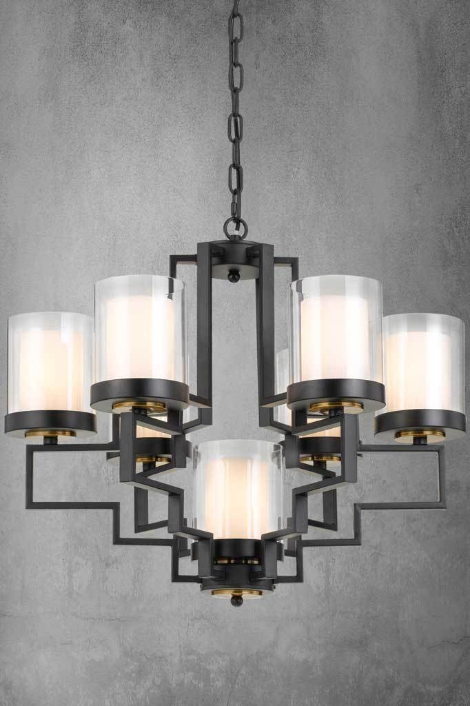 Aalton multi light black chandelier with art deco glamour in 7 light configuration
