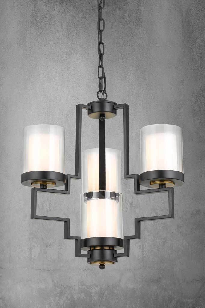 Aalton multi light pendant with deco industrial style in 5 light configuration