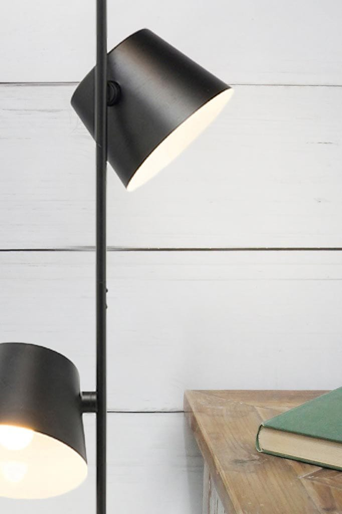 Large three light black floor lamp