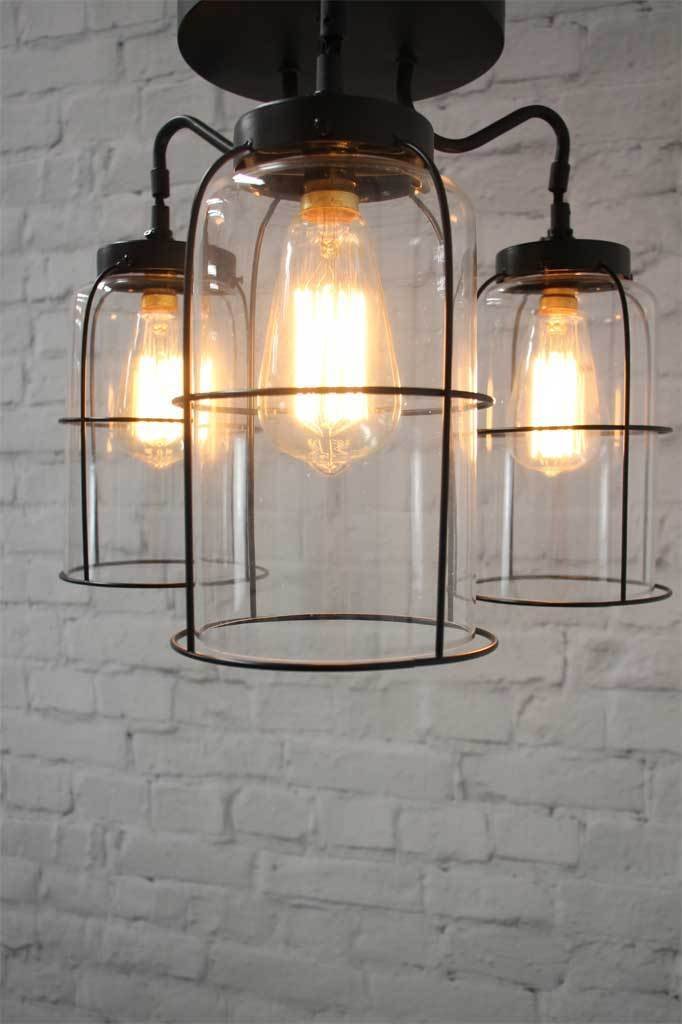 Alternate view of 3 light gooseneck style pendant lighting with cage and industrial vintage style
