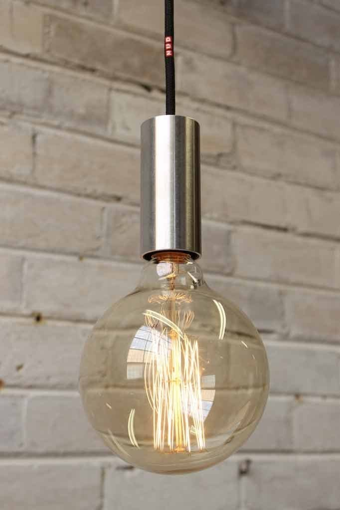 Aluminum pipe pendant by nud with large edison style filament bulb