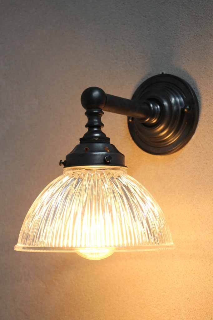 Antique halophane glass wall light. industrial ligh sconce.