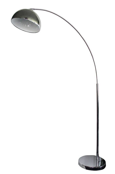 Arc floor lamp chrome shade with white inner