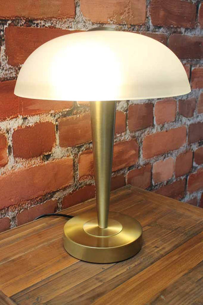 Art deco style lamp with frosted glass shade