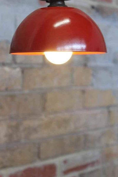 Bakelite bowl close to ceiling light. red ceiling light. close to ceiling lights for low ceilings. bedroom lighting hallway lighting kitchen lighting cafe lighting