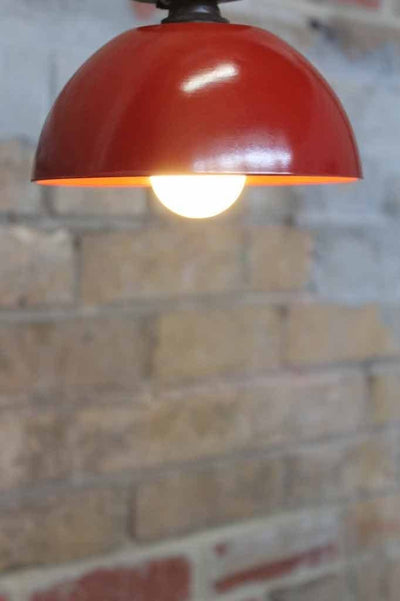 Bakelite Bowl Close To Ceiling Light. Red ceiling light. Close to ceiling lights for low ceilings.