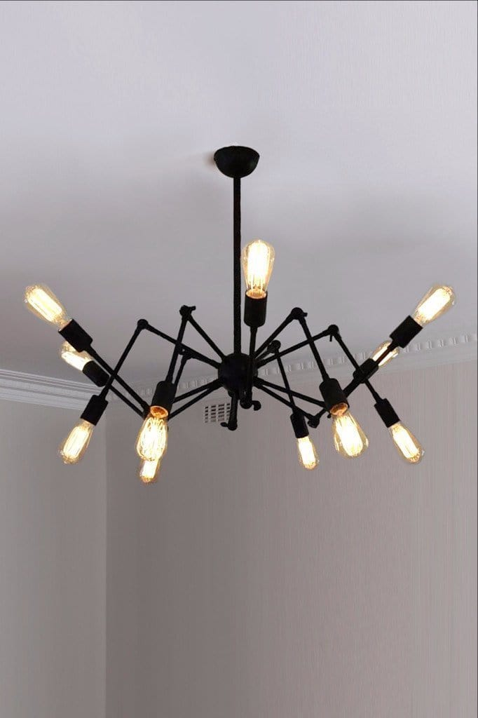 Bare bulb spider chandelier industrial chandelier hanging from ceiling rose