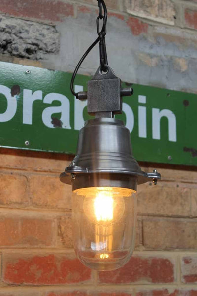 Beacon pendant light with classic design of metal and glass that has changed very little over the best part of the last century.
