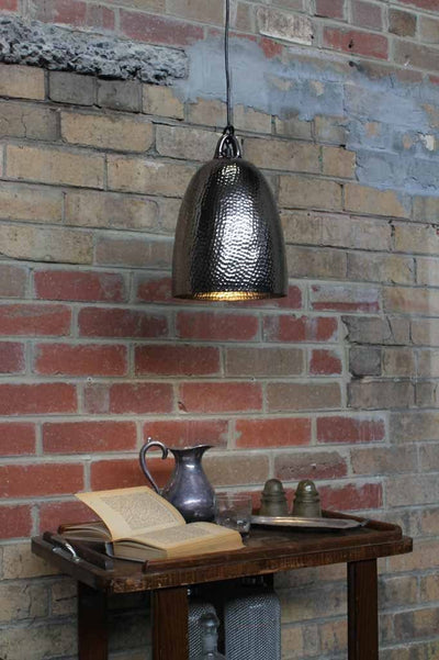 Bell metal pendant light in black nickel finish ideal above tables kitchen tables dinning room tables or cafe lighting