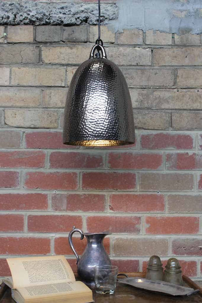 Bell Metal Pendant Light in black nickel with a hammered metal finish ideal metal pendant light for kitchen lighting  café