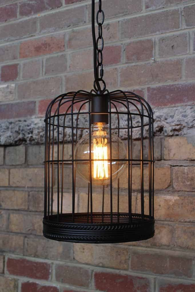 Birdcage light with edsion light bulb in black cage pendant light.