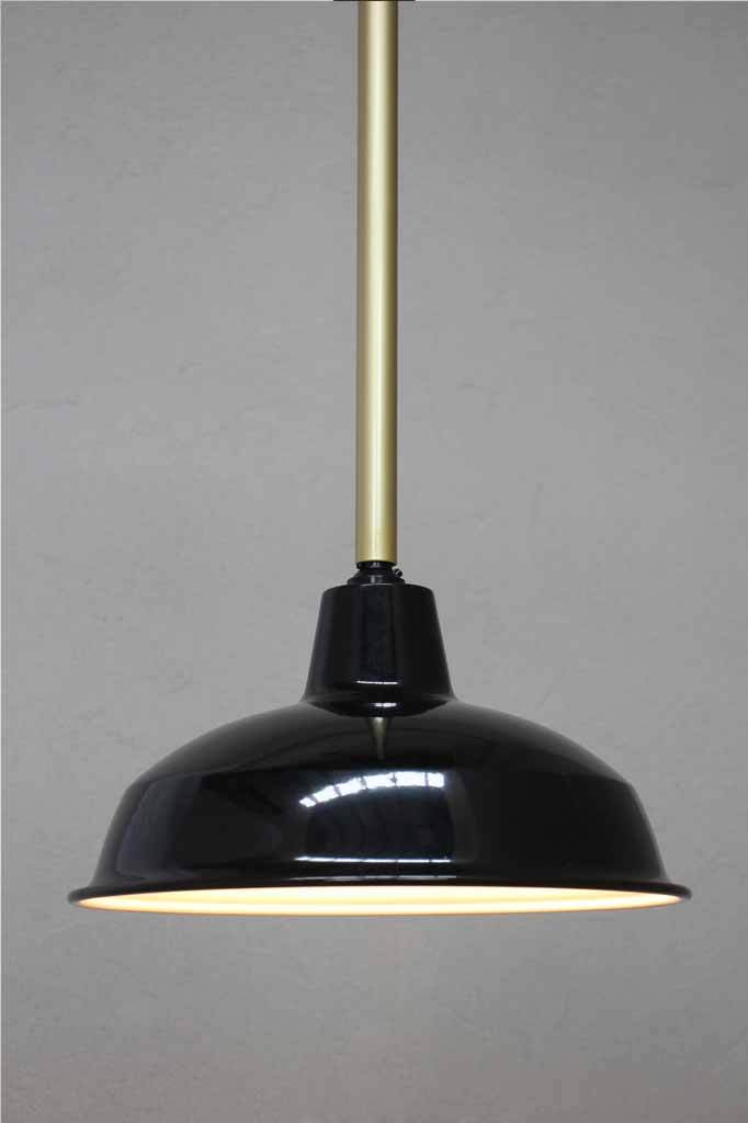 Black Shade with gold pole pendant