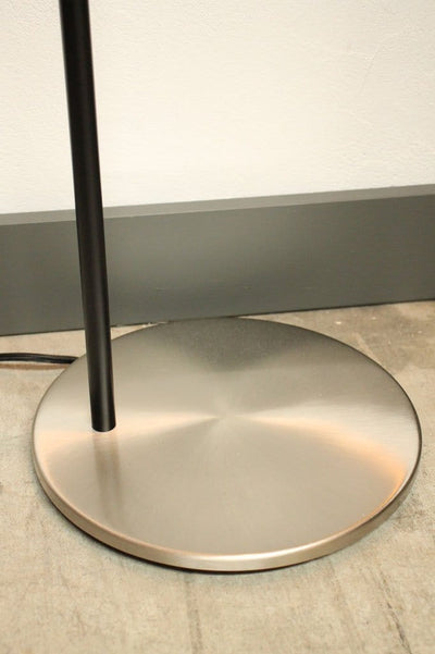 Black and chrome floor lamp. reading light for nursery. weighted base lamp