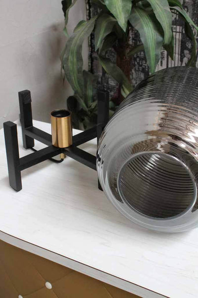 Black and smoked glass table light. buy lighting online.