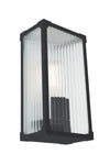 Black residential exterior light. ribbed glass diffuser. verandah lighting