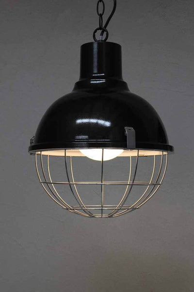 Black vintage industrial lighting for commercial and residential fitouts. Cage guard for authentic look. Black glossy painted shade with white inner