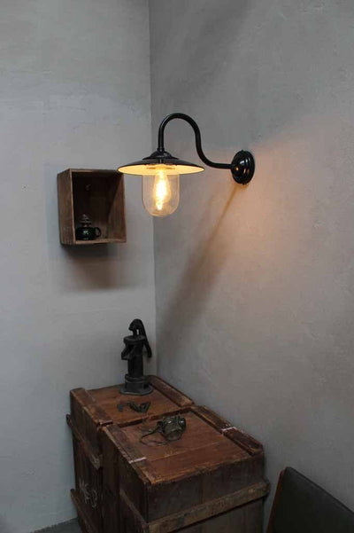 Boasthouse glass wall light. black wall sconce and glass shade with edison bulb. perfect for that modern vintage style