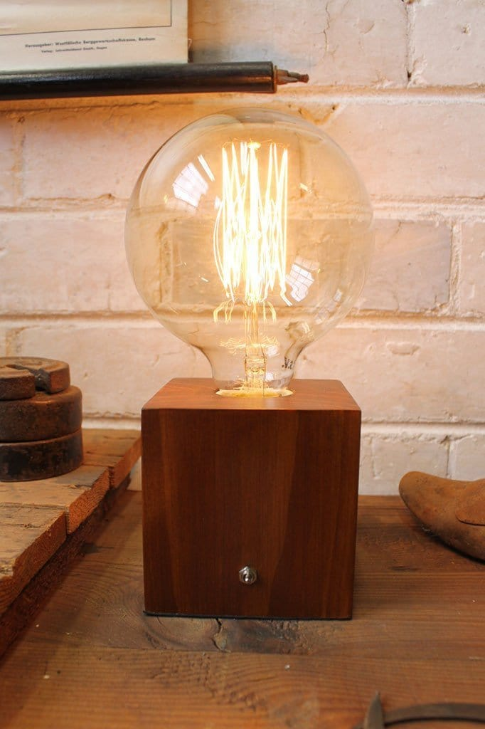 Box table lamp with filament bulb