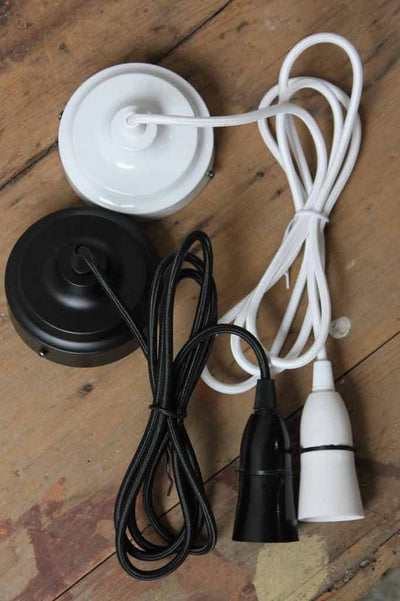 Braided light cord and ceiling fixture in black and white