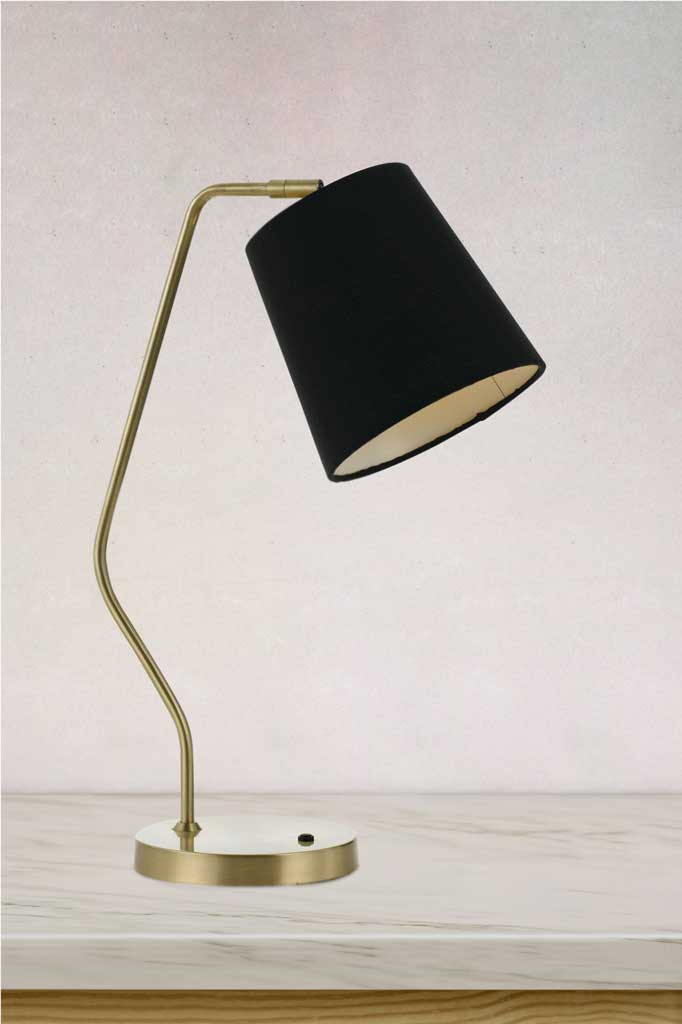 Brass stem and black shade lamp