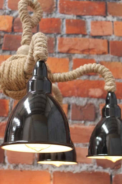 Brasserie rope gooseneck pendant light. rustic rope multi light. black shades with white inner