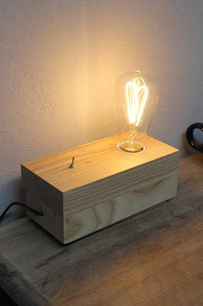 Brick timber table lamp. clean lines. minimalist design. bedside lights or desk lamp