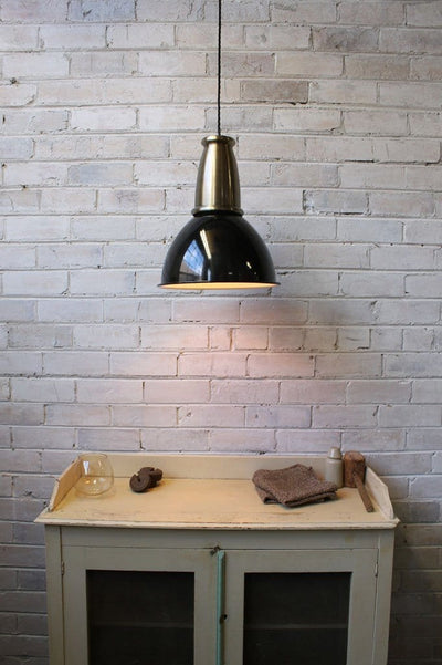 Brickworks pendant light with antique brass housing cover