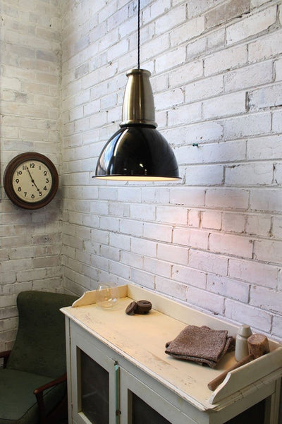 Brickworks pendant light with black braided cord