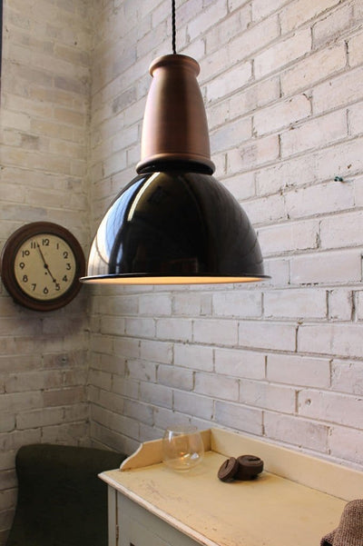 Brickworks pendant light with copper housing cover