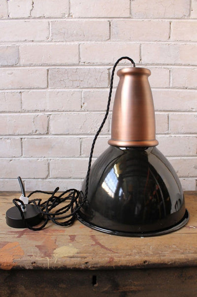 Brickworks pendant light with copper housing cover not attached to ceiling