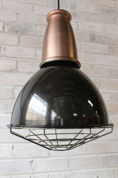 Brickworks pendant light with copper top and cage guard