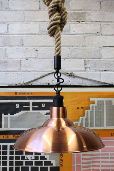 Bullpit rope pendant light with copper shade