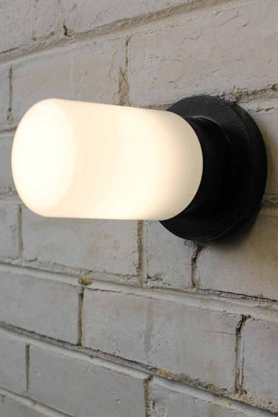 Bunker tube wall light with opal glass cover