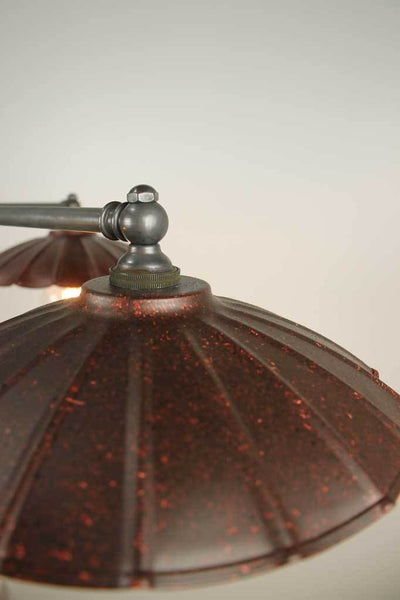 C115 rusty close up shade 3 light vintage umbrella flush mount ceiling