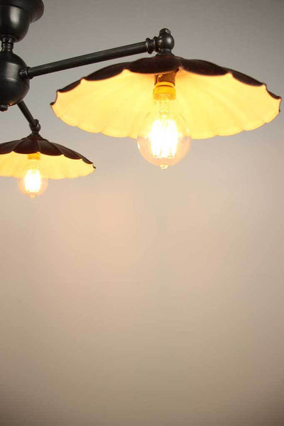 C115 rusty closer angle 3 light vintage umbrella flush mount ceiling
